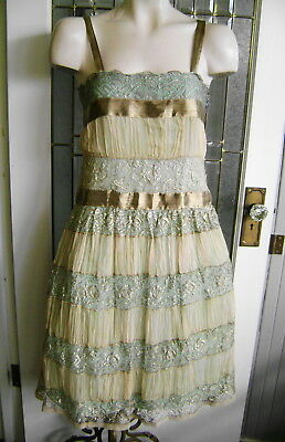 Antique 20's Luscious Pink Shirred Georgette Silver Metallic Lace Party Dress