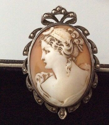 Vintage Edwardian beautiful Silver And Real Carved Cameo brooch