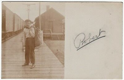 RPPC 1907 Railroad Depot  Station Jackson WI Wisconsin - Real Photo RR