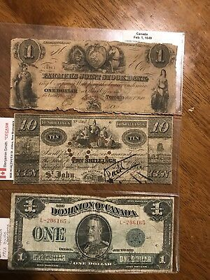 Lot Of 3 Very Old Canadian Notes