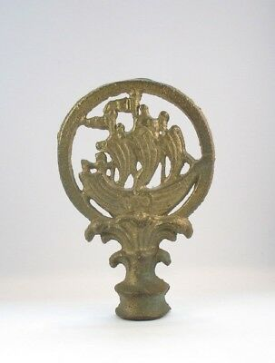 Vintage Antique Old Cast Iron Sailing Ship Lamp Finial Shade Finial Large Knob