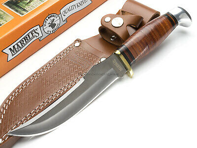 Marbles Large Fixed Blade Hunter Skinner Knife Leather Stacked Handle MR397