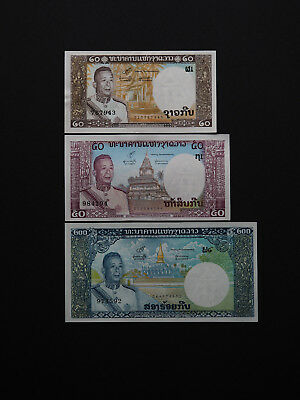 Laos Banknotes Magnificent Set of Three Date 1963 -  Classic notes Excellent UNC