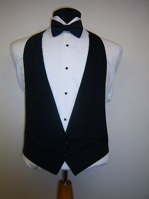 BLACK 3 BUTTON FORMAL VEST with Satin buttons and pockets  - Easy fit adjustable