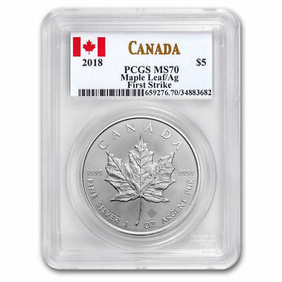 2018 Canada $5 Silver Maple Leaf PCGS MS 70 FS  | POP ONLY 267 ~ 4,826 IN MS69 !