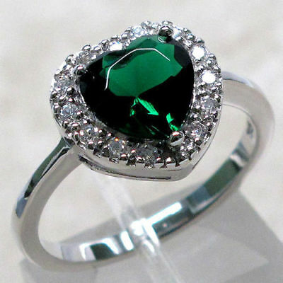 EMERALD sterling 925 silver ring size J,L,M,O,Q,R,S,T/5,6,7,8,9,10 Ladies/girls1