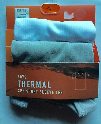Boys 2 Pack Thermal Short Sleeve Vests 1 White and 1 Grey