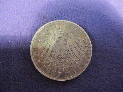 1902 German Funf Five Mark Freie Und Hansestadt Hamburg Silver Coin