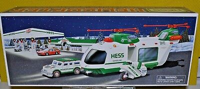 2001 HESS  HELICOPTER w/MOTORCYCLE and CRUISER NEW IN BOX