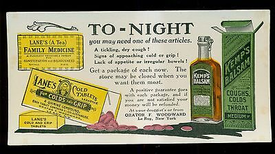 1890's Kemp's Balsam & Lane's Cold Tablets Advertising Blotter - Le Roy,NY