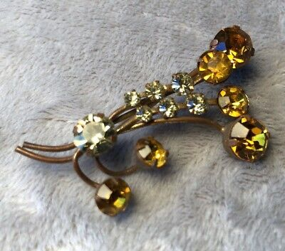 Vintage Estate 50s Brilliant amber clear Rhinestone Gold Metal flower Brooch