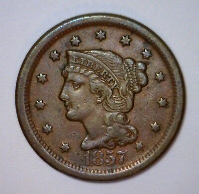 1857 Braided Hair Large Cent Large Date ~ EF Extra Fine XF