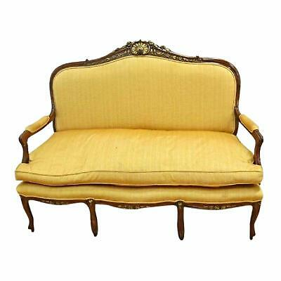 Fine Louis XV Style Walnut Carved Loveseat Settee Sofa Chaise Couch Gilt French