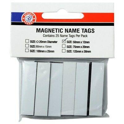 Replacement Magnetic Name Tags [Size: 50mm x 12mm White]