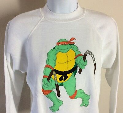 Vtg 80s Teenage Mutant Ninja Turtles Sweatshirt White Raglan Michelangelo TMNT