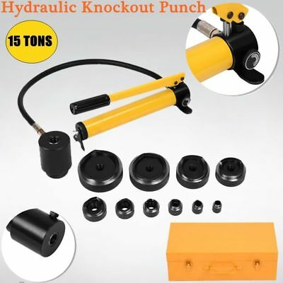 15 Ton 10 Dies Hydraulic Knockout Punch Driver Kit Hand Pump Hole w/ Metal Case