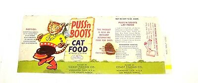 Vintage Puss N Boots Cat Food Graphic Can Label VGX Beer Soda Dog Oil Coffee Ofr