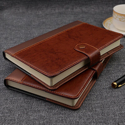 Classic Business Leather Writing Notebook Journal w Button Brown/Black