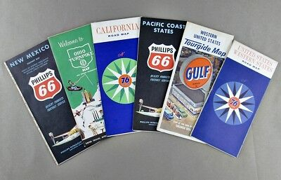 (6) Vintage Early 1960's Folding Gas Station Road Maps Phillips 66 Gulf Union 76