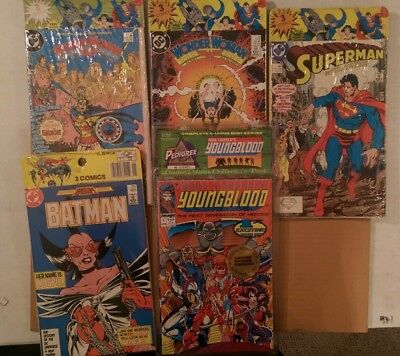 Comic Lot of 5 Sealed Packs with Wonder Woman, Batman, Superman & YoungBlood