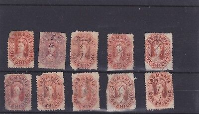 12 Tasmania 1 shilling Chalon stamps with pen (fiscal) cancels.