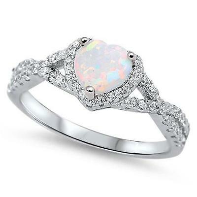 HEART Genuine STERLING SILVER RING Simulated White Opal  Size 7 8 9 10 / O Q S U