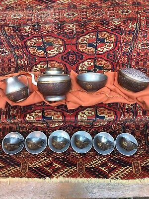 Antique Chinese Qing Coconut And Pewter Tea Set.