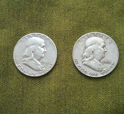 USA Franklin Half Dollars 1952 and 1953D, 90% Silver