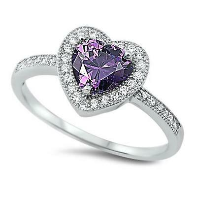 HEART Genuine STERLING SILVER RING Simulated Amethyst ~ Size 7 8 9 10 / O Q S U