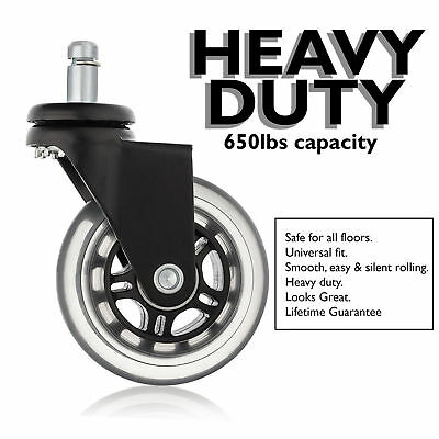Heavy Duty Office Chair Casters Wheels Replacement Caster Rollerblades Wheel x 5