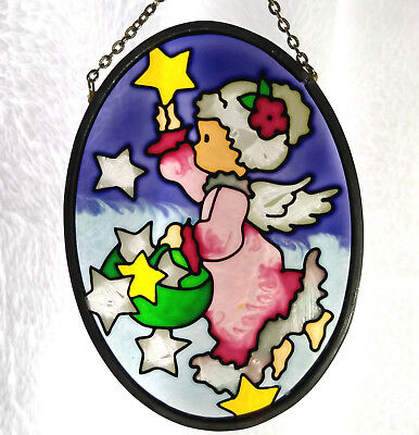 Stained Glass Angel with Stars Sun Catcher Window Ornament Christmas Round