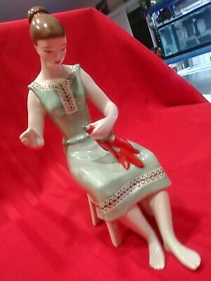 Vintage HOLLOHAZA HUNGARIAN Porcelain Woman in Traditional Dress - MINT