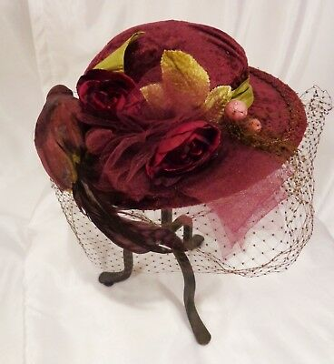 Victorian Reproduction Hand Made Hat Antique Millinery Bird Steampunk Edwardian