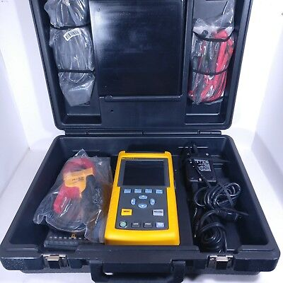 Fluke 43B Power Quality Analyzer Full Set w/ Case Accessories CD Clamp Cables