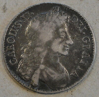 Great Britain 1676 Half Crown KM-438.1 Mid Grade with typical Strike Weakness