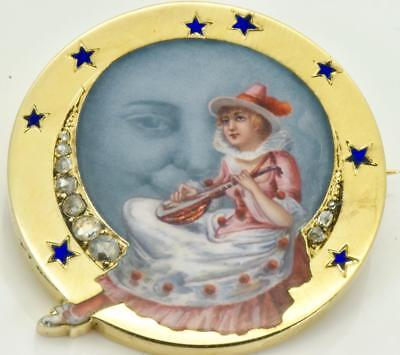 $30000 Imperial Russian Faberge 18k gold,Diamonds&hand painted enamel brooch.Box