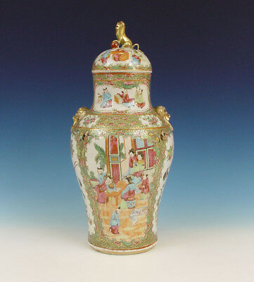 Large Chinese Porcelain Cov. Vase Figures 19th C.