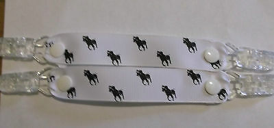 pr mitten glove clips baby girl boy kids polo pony white ribbon black horse xmas