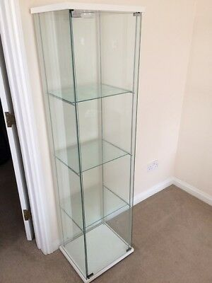 Ikea Detolf Glass Door Cabinet White In Excellent Condition With