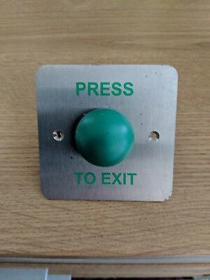 Stainless steel green dome press to exit button BNIB