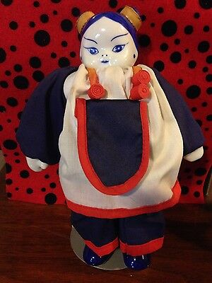 Vtg. Collector's Asian Porcelain Pottery Girl Doll on Stand Statue Figurine Toy