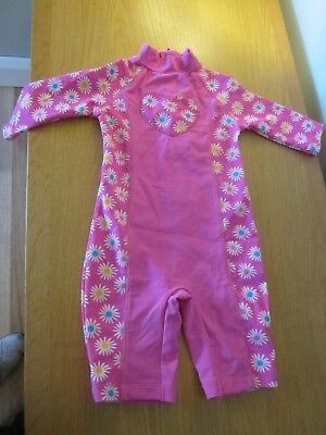 Baby Girls' UV Sun Protection Pink Swimsuit - Mothercare -18-24 months VGC