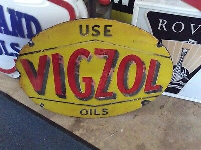 Original really early oval shaped VIGZOL Oil's double sided enamel sign
