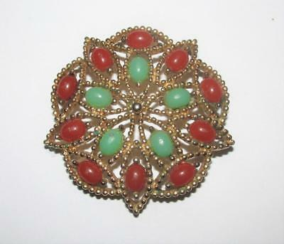 Vintage Green And Coral Brooch - Signed Sarah Coventry