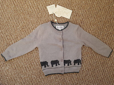 Rachel Riley baby boy cardigan with elephant pattern, 9-12M