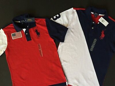 Ralph Lauren Polo Big Pony Polo Shirt US Flag Kids Sizes S M L XL Genuine NEW