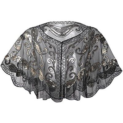 1920s Shawl Wraps Beaded Evening Cape Bridal For Dresses Wedding Party (Black)