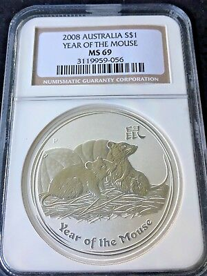 2008 Australia S$1 Year of the Mouse NGC MS 69