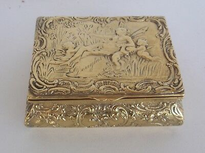 German Art Nouveau Solid Silver Gilt Jewellery Box Snuff Case Fairy Putty