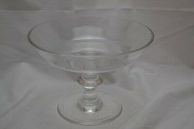 Signed Val St Lambert Footed Crystal Center Bowl Clear